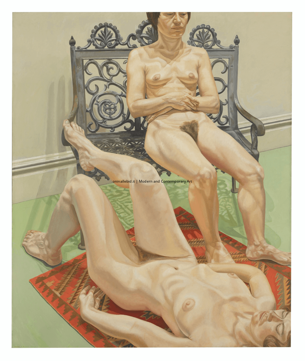Two female models with iron bench - Philip Pearlstein
